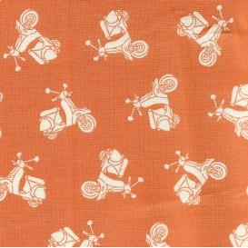 tissu patchwork makower scooter orange largeur 110cm x 25cm