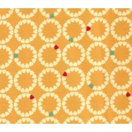 tissu patchwork makower coeur orange largeur 110cm x 25cm