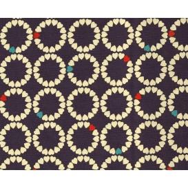 tissu patchwork makower coeur bleu largeur 110cm x 25cm