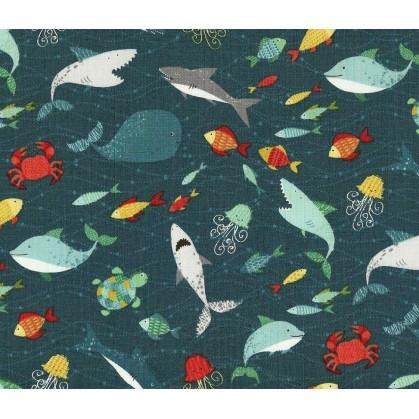 tissu patchwork makower poisson largeur 110cm x 25cm