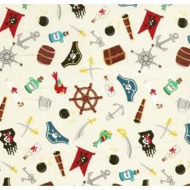 tissu patchwork makower pirate écru largeur 110cm x 25cm