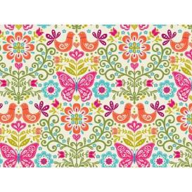 tissu patchwork makower fleur papillon largeur 110cm x 25cm