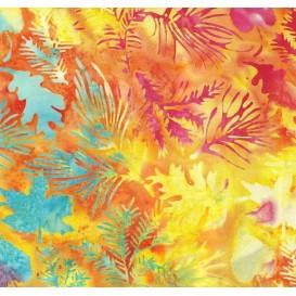 tissu patchwork makower batik jaune feuilles largeur 110cm x 25cm