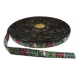 coupon 3m ruban tissé aztèque multicolore 20mm