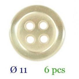 tube 6 boutons écru 4 trous 11mm