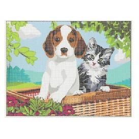 Kit canevas chien et chat 15x20 cm