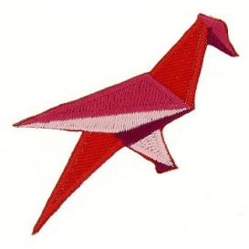 écusson oiseau origami rouge thermocollant
