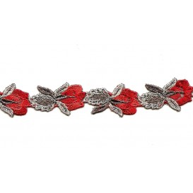 galon fleurs rouge 23mm