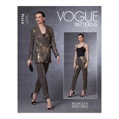 patron blazer, ceinture, pantalon Vogue V1716