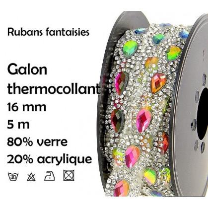 bobine 5m ruban strass multi thermocollant 16mm