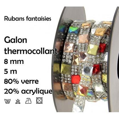 bobine 5m ruban strass multi thermocollant 8mm