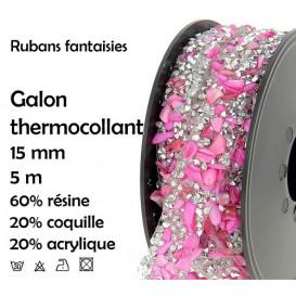 bobine 5m ruban strass rose thermocollant 15mm