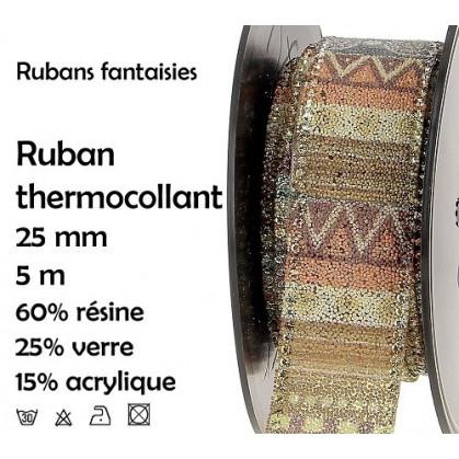 bobine 5m ruban ethnique kaki thermocollant 25mm