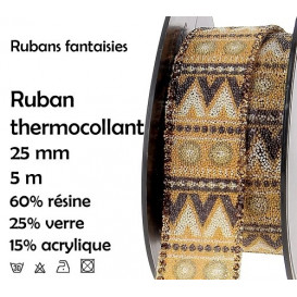 bobine 5m ruban ethnique jaune thermocollant 25mm