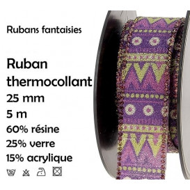 bobine 5m ruban ethnique violet thermocollant 25mm