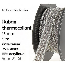 bobine 5m ruban strass gris thermocollant 13mm
