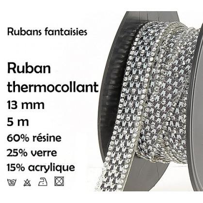 bobine 5m ruban strass thermocollant 13mm