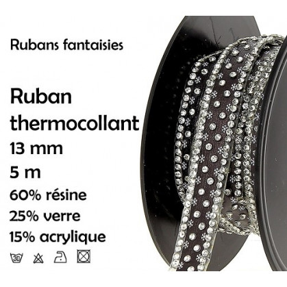 bobine 5m ruban strass noir thermocollant 13mm