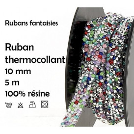 bobine 5m ruban strass multi thermocollant 10mm