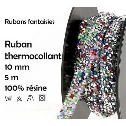 bobine 5m ruban strass multi thermocollant 10mm