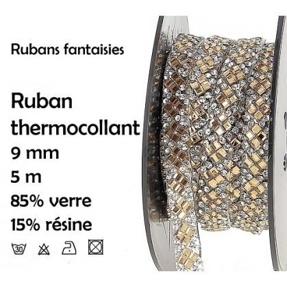 bobine 5m ruban strass or thermocollant 9mm