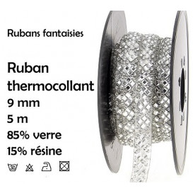 bobine 5m ruban strass argent thermocollant 9mm