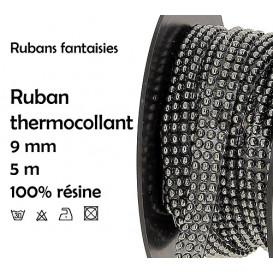 bobine 5m ruban strass rondes thermocollant 9mm