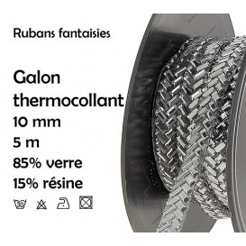 bobine 5m ruban strass argent thermocollant 10mm