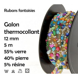 bobine 5m ruban pierre strass multi thermocollant 12mm