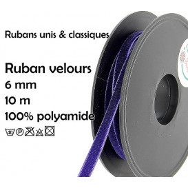 bobine 10m ruban velours 6mm