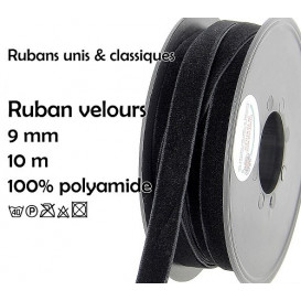 bobine 10m ruban velours 9mm