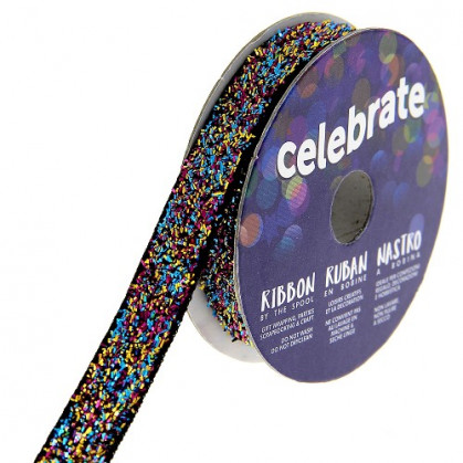 bobine de ruban celebrate velours glitter 10mm x 2,5m
