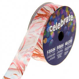bobine de ruban celebrate satin camouflage rose 15mm x 3m