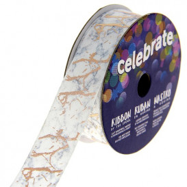 bobine de ruban celebrate satin camouflage blanc/or 15mm x 2m