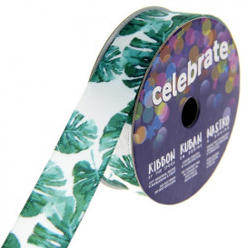 bobine de ruban celebrate satin feuille tropical 15mm x 3m