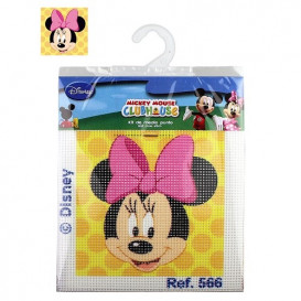 kit canevas disney tête de minnie pois jaunes