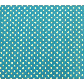 coupon 3m coton turquoise coeurs 5mm