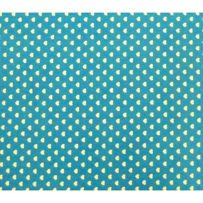 coupon 2,70m coton turquoise coeurs 5mm