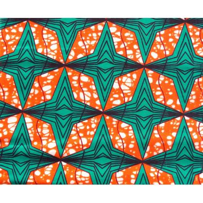 coupon 5,48m tissu africain wax orange étoiles