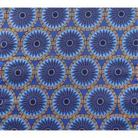coupon 5,48m tissu africain wax brillant ronds fleurs