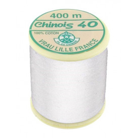 fil coton mercerisé au chinois blanc 400m