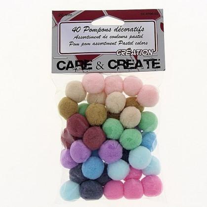 40 pompons couleurs pastels 20mm