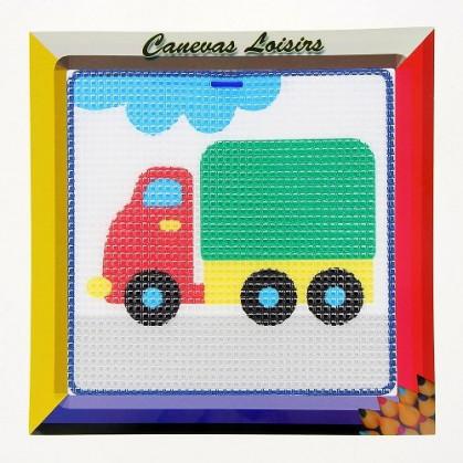 kit canevas enfant gros points camion