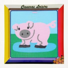 kit canevas enfant gros points cochon