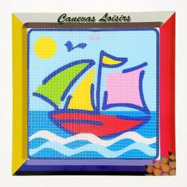 kit canevas enfant gros points bateau voilier
