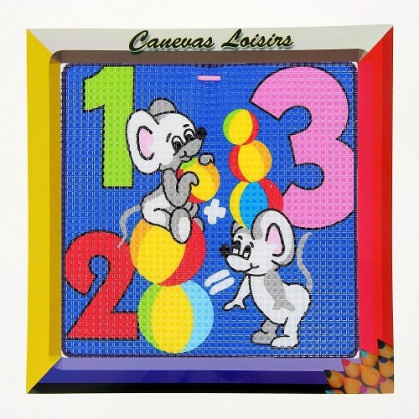 kit canevas enfant gros points souris 123
