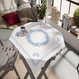 kit nappe à broder fleurs bleues couronne 80x80cm