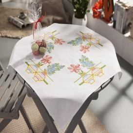 kit nappe à broder pots de fleurs 80x80cm