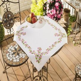 kit nappe à broder fleurs fuschia et rose 80x80cm