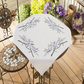 kit nappe à broder fleurs violettes 80x80cm